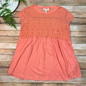 Jessica Simpson Pink Lace Maternity Top Boho SMALL
